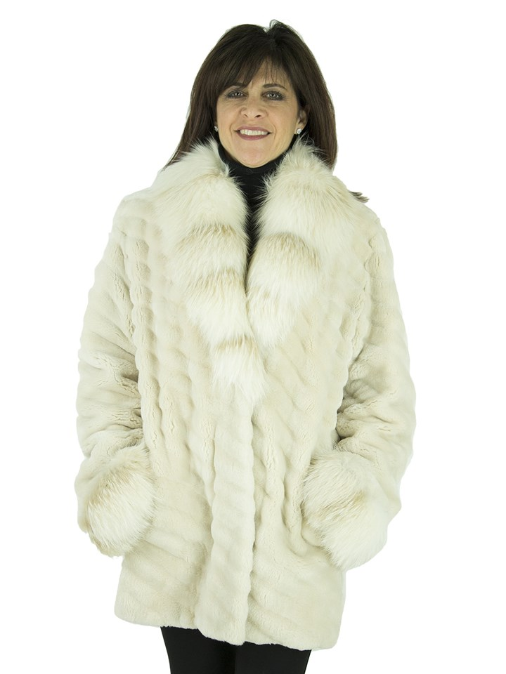 Woman's Blush Sheared Beaver Fur Jacket with Matching Fox Cuffs and Collar
