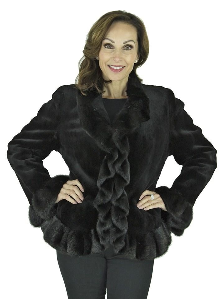 Woman's Black Sheared Mink Fur Jacket with Ruffles