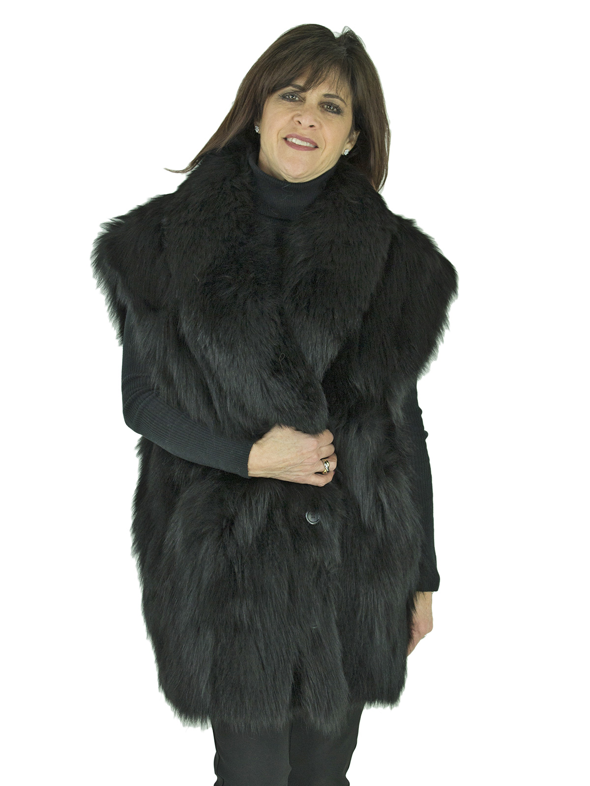 499a11a98 Black Fox Fur Vest - Women's Fur Vest - Large| Estate Furs