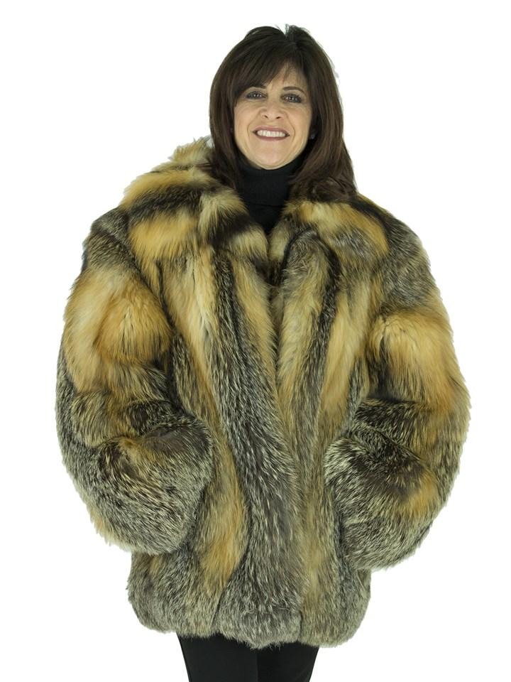 Woman's Natural Cross Fox Fur Jacket
