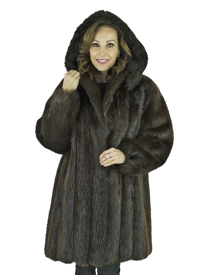 Woman's Dark Brown Beaver Fur Stroller