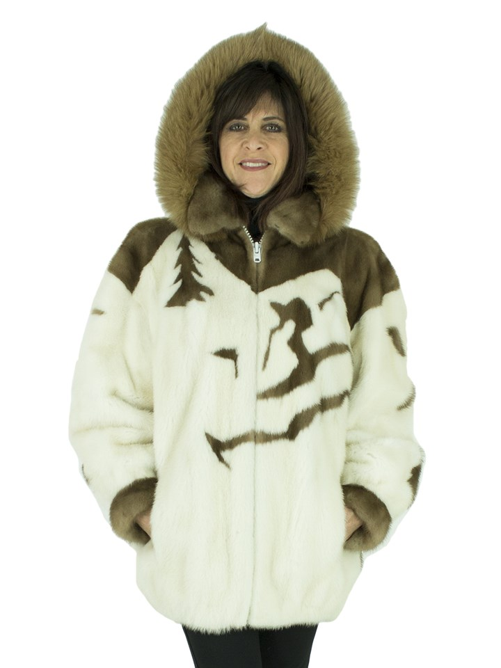 Woman's White Mink Fur Jacket with Detachable Hood