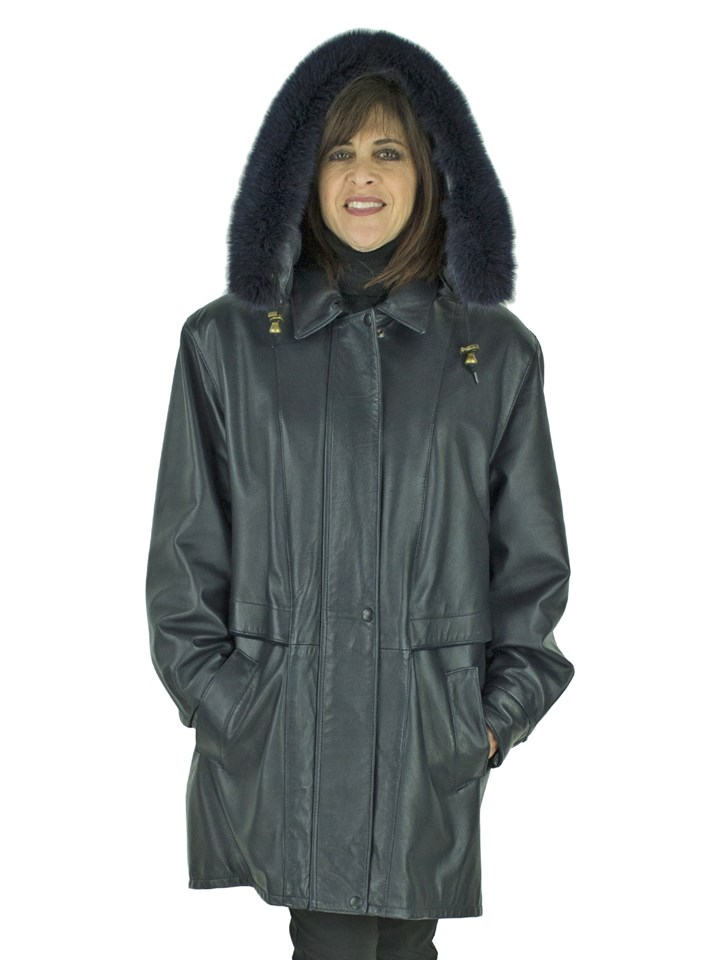 Woman's Dark Navy Leather Stroller with Fox Trimmed Detachable Hood