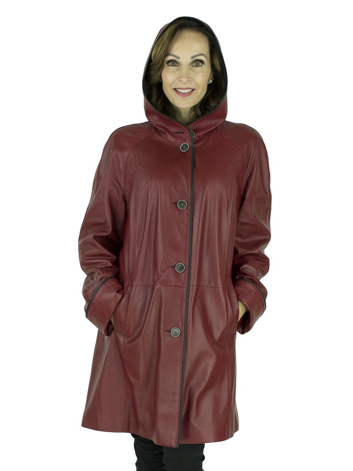 Woman's Red Leather Hooded Stroller Reversible to Black Rain Fabric
