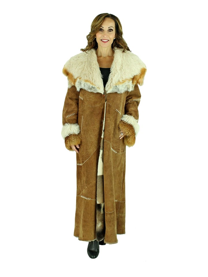 Woman's 'Sued' Mod Shearling Lamb Coat