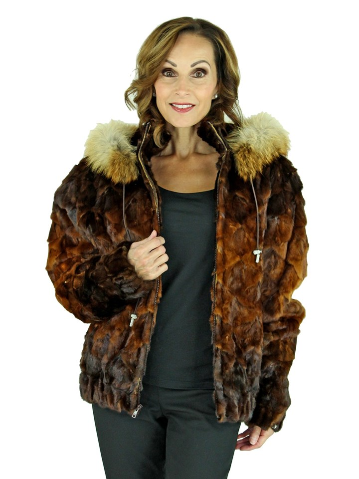 Woman's Whiskey Sectioned Mink Fur Parka with Detachable Fox Trimmed Hood