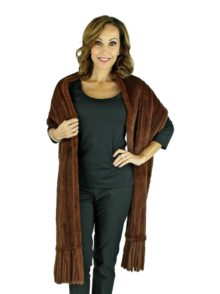 Woman's Brown Rex Rabbit Knit Fur Stole with Mink Tails and Trim