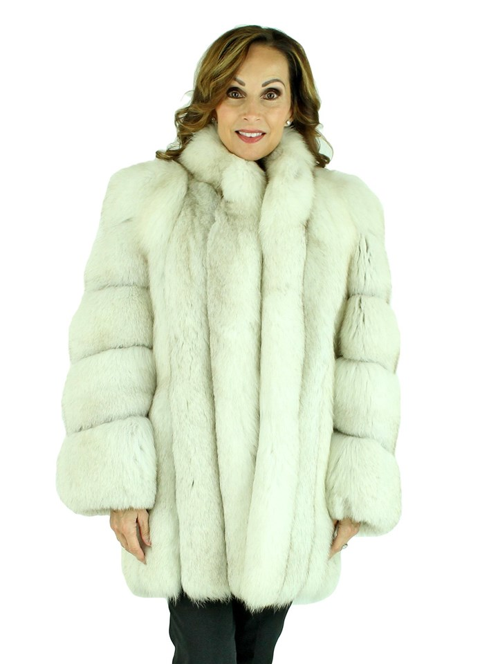 Woman's Blue Fox Fur Stroller