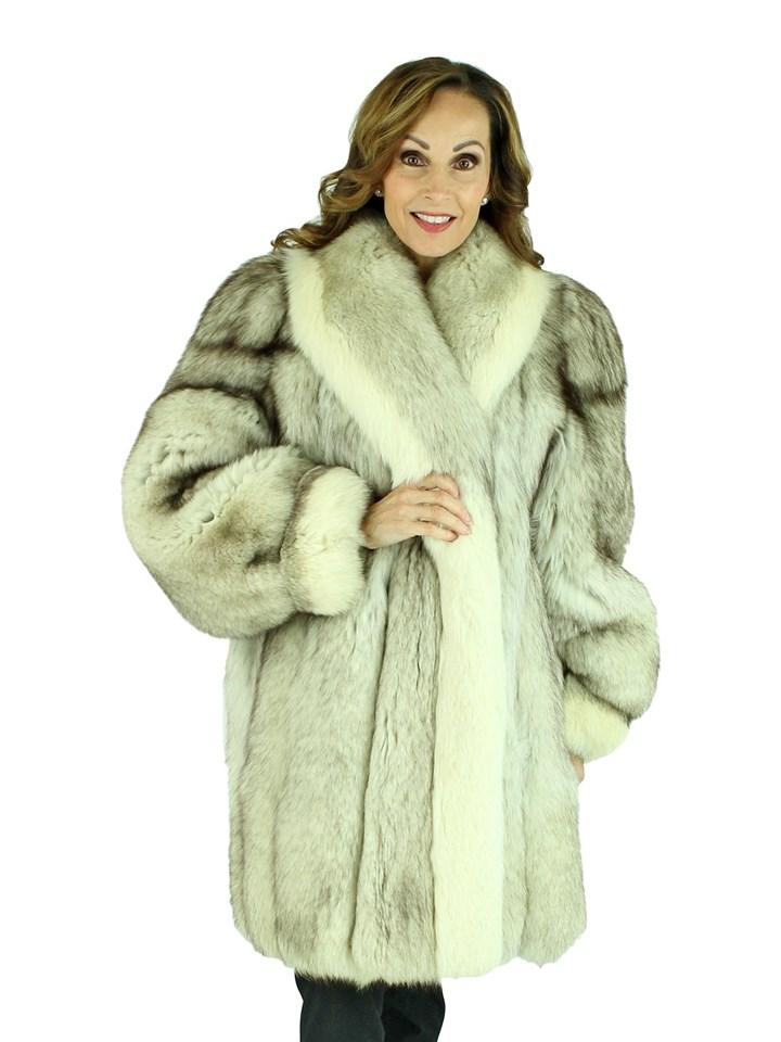 Woman's Blue Fox Fur Stroller with Shadow Fox Trim