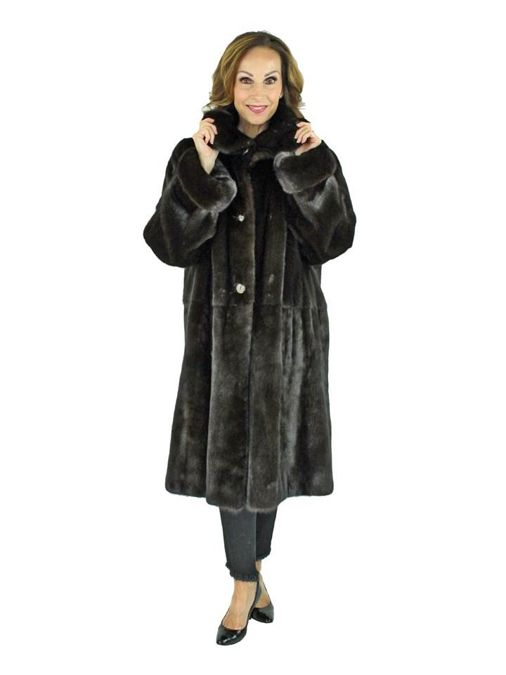 Woman's Teso Dark Mahogany Female Mink Fur 7/8 Coat Reversing to Rain Fabric