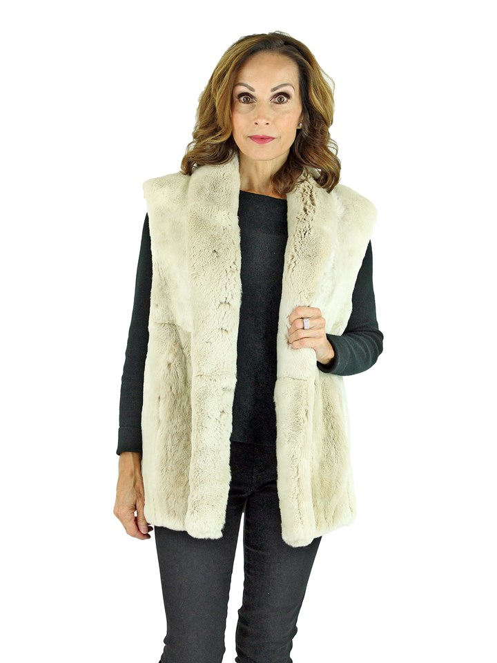 Woman's Cream Sheared Beaver Fur Vest Reversing to Caramel Leather