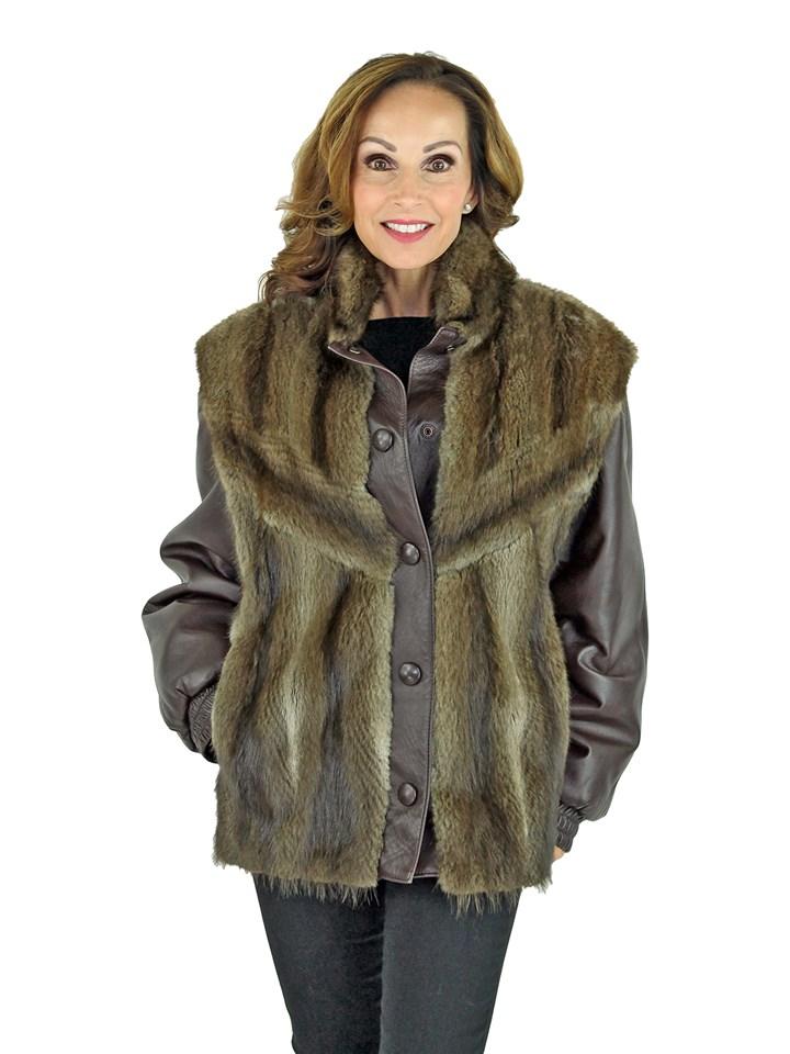 Woman's Natural Muskrat Fur Jacket