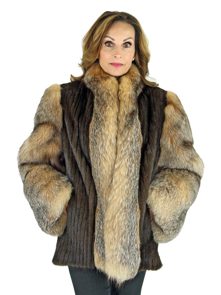 Woman's Mahogany Mink Fur Cord Cut Jacket with Crystal Fox Trim