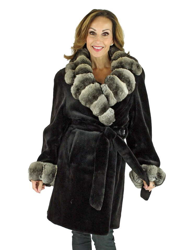 Woman's Black Sheared Mink Fur 3/4 Coat with Chinchilla Collar and Cuffs