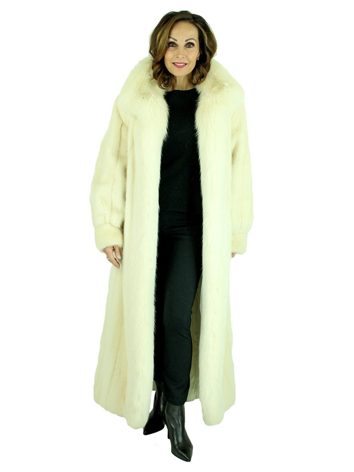 Woman's Tourmaline Mink Fur Coat with Fox Tuxedo Front