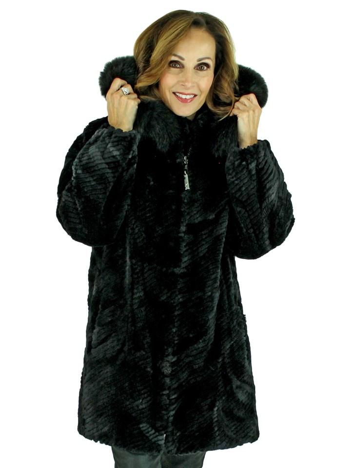 Woman's Black Sheared Beaver Fur Stroller with Detachable Fox Trimmed Hood