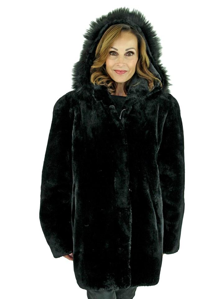 Woman's Black Sheared Beaver Fur Parka