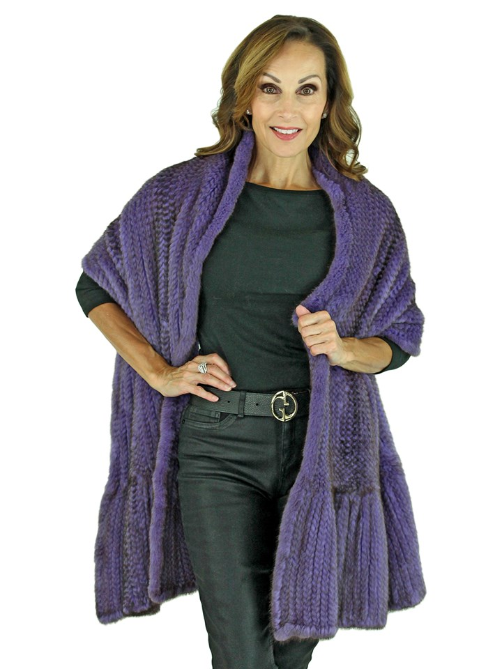Woman's Purple and Black Knitted Mink Fur Stole