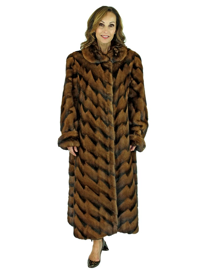 Woman's Scaasi Demi Buff and Mahogany Mink Fur Directional Coat