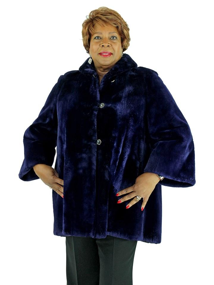 Woman's Bluish Purple Sheared Beaver Fur Swing Stroller