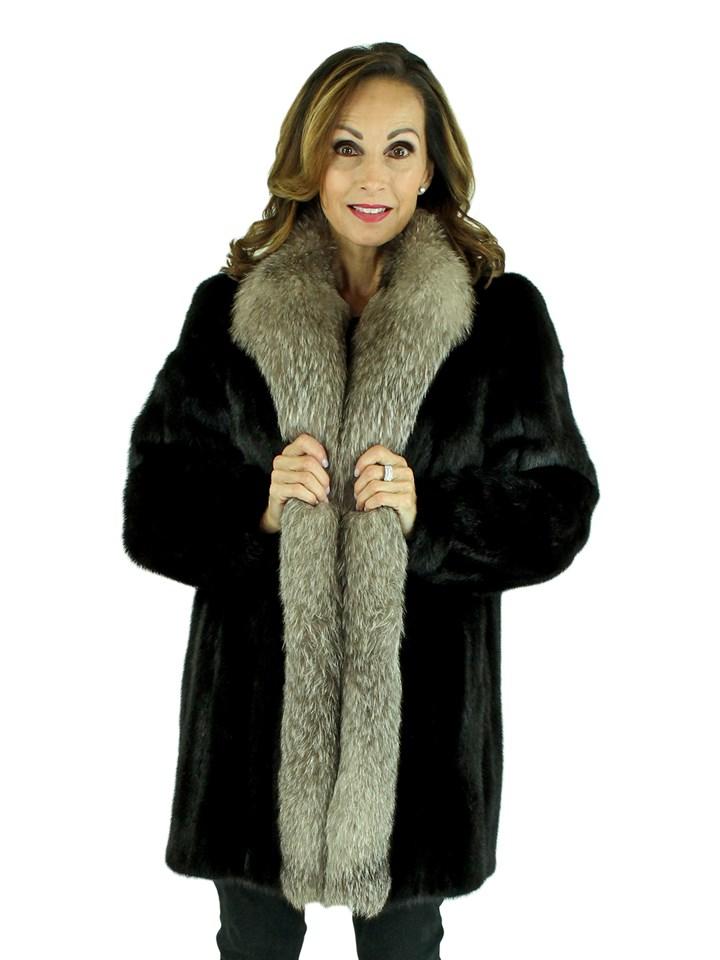 Woman's Ranch Mink Fur Stroller with Indigo Fox Tuxedo Front