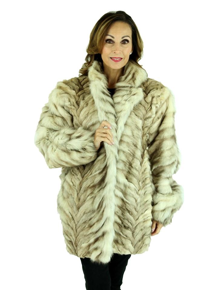 Woman's Cross Fox Diagonal Cut Fur Stroller