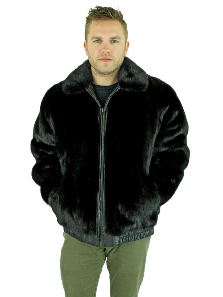 Man's Ranch Mink Fur Jacket Reversing to Black Leather