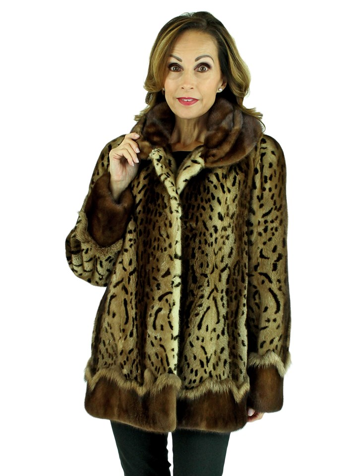 Woman's Animal Print Female Mink Fur Jacket with Sable Trim