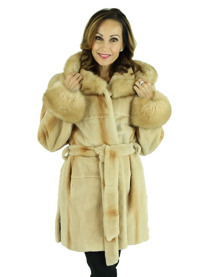 Woman's Golden Beige Sheared Mink Fur Parka with Golden Sable Trim