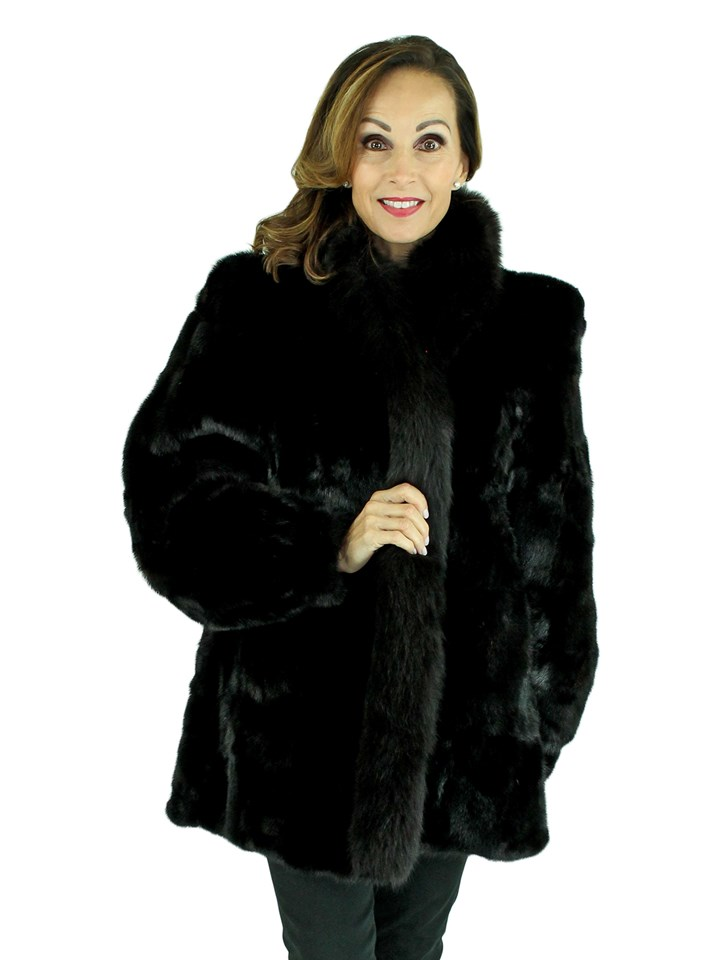 Woman's Black Sectioned Mink Fur Jacket