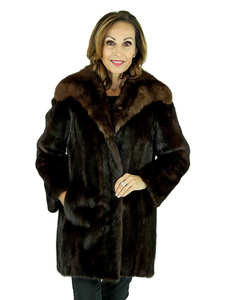 Woman's Dark Mahogany Female Mink Fur Stroller with Sable Collar