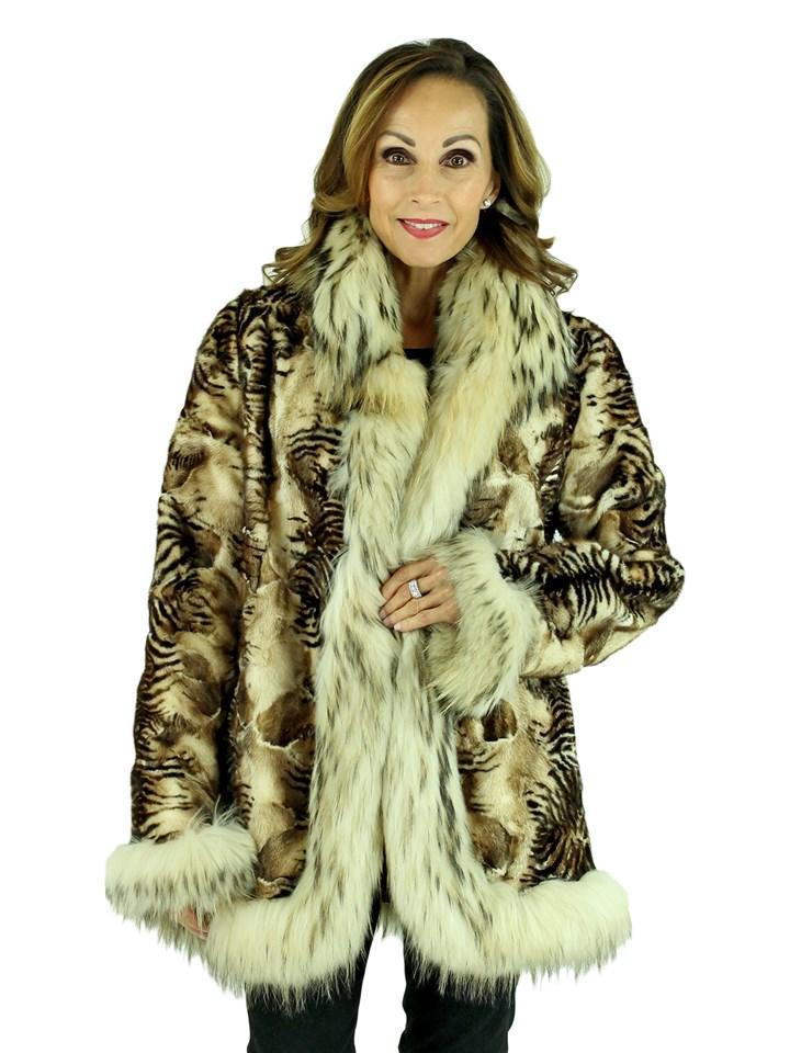 Woman's Sculptured Animal Print Mink Fur Jacket Reversing to Rain Fabric