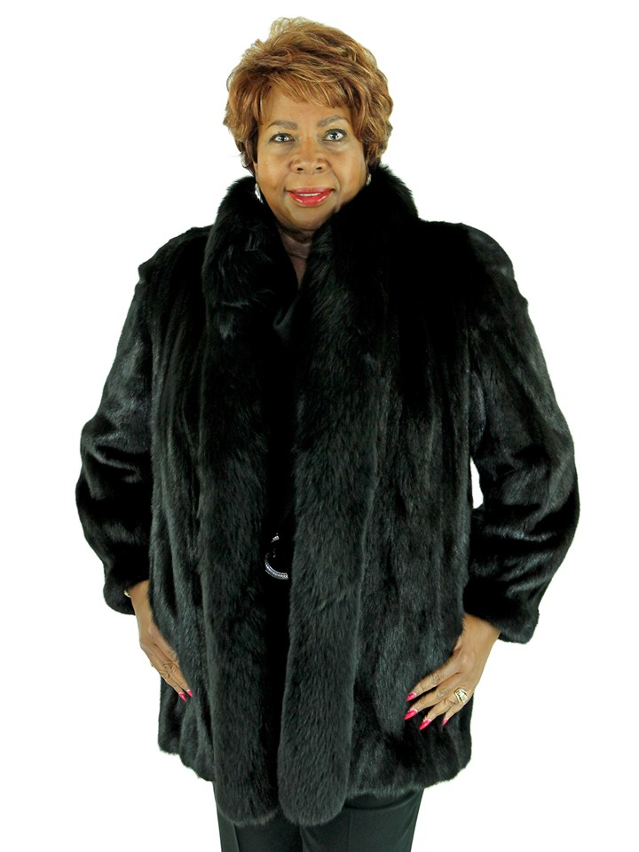Woman's Ranch Female Mink Fur Stroller with Fox Tuxedo Front