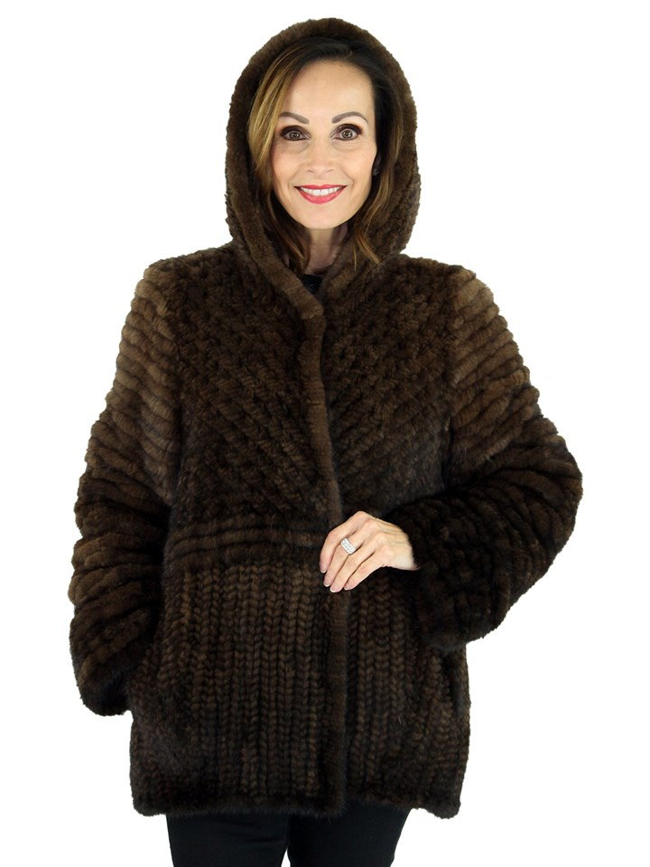 Woman's Mahogany Knit Mink Fur Jacket with Hood