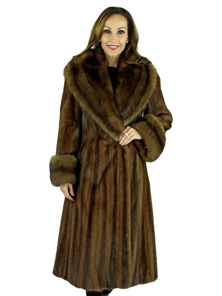 Woman's Demi Buff Female Mink Fur Coat with Stone Marten Collar and Cuffs
