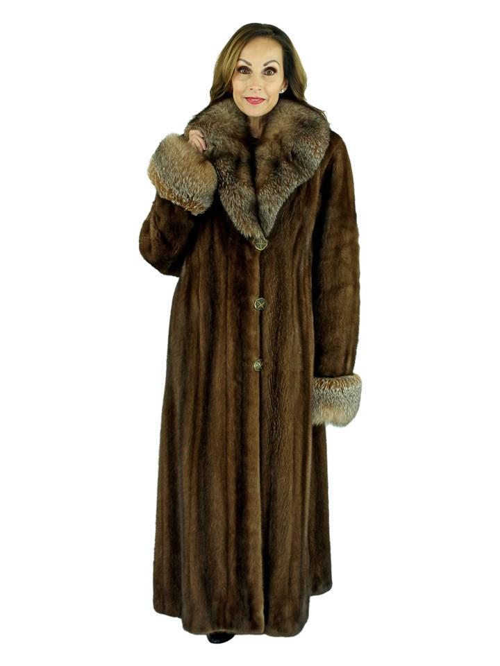 Woman's Demi Buff Mink Fur Coat with Crystal Fox Collar and Cuffs