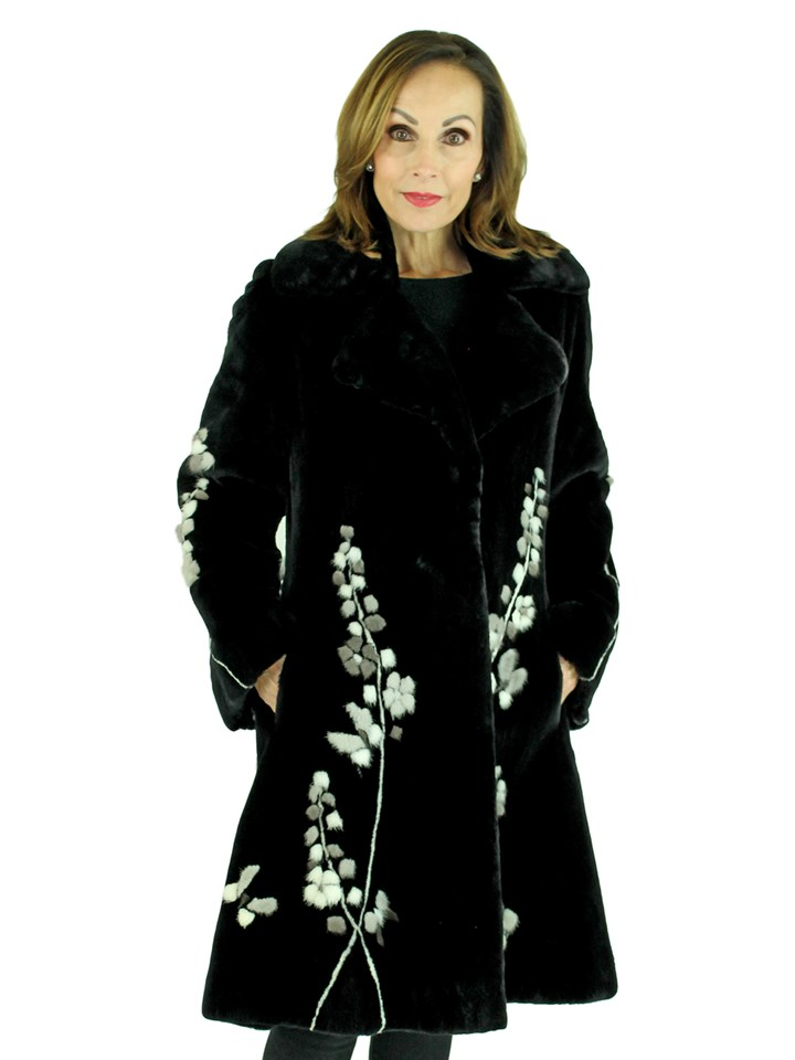 Woman's Zuki Black Sheared Beaver 7/8 Fur Coat with Mink Inserts Creating Floral Design