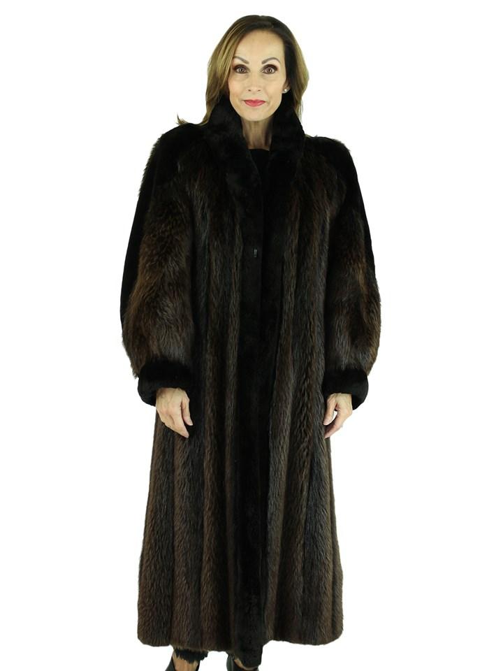 Woman's Natural Long Hair Beaver Fur Coat