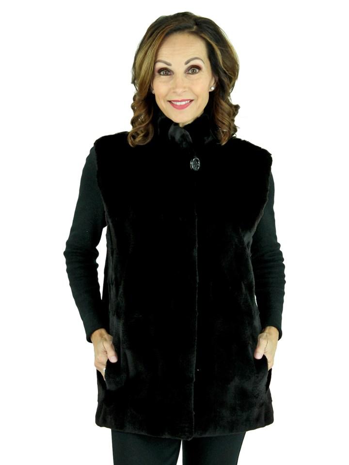 Woman's Black Sheared Mink Fur Vest Reversing to Rain Taffeta