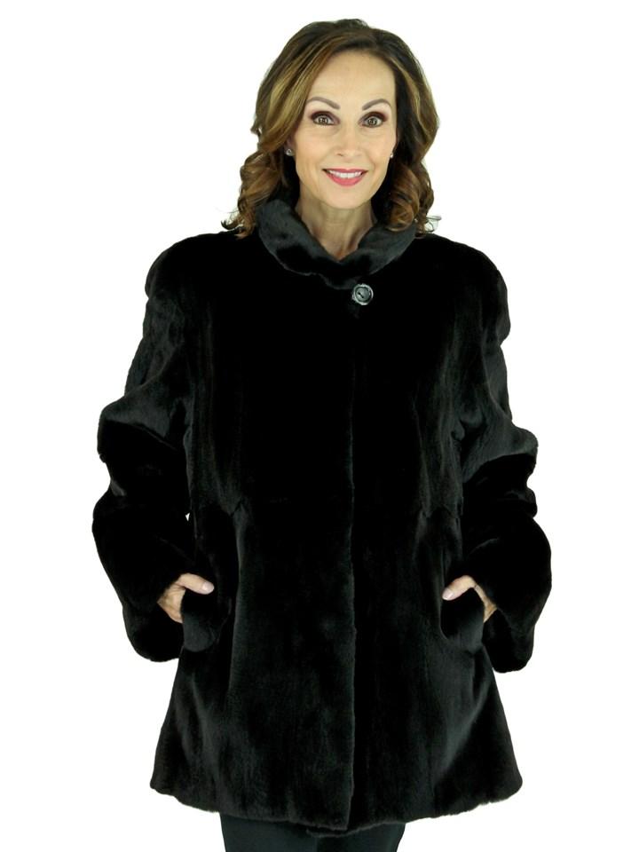 Woman's Black Sheared Mink Fur Jacket, Reversing to Rain Fabric