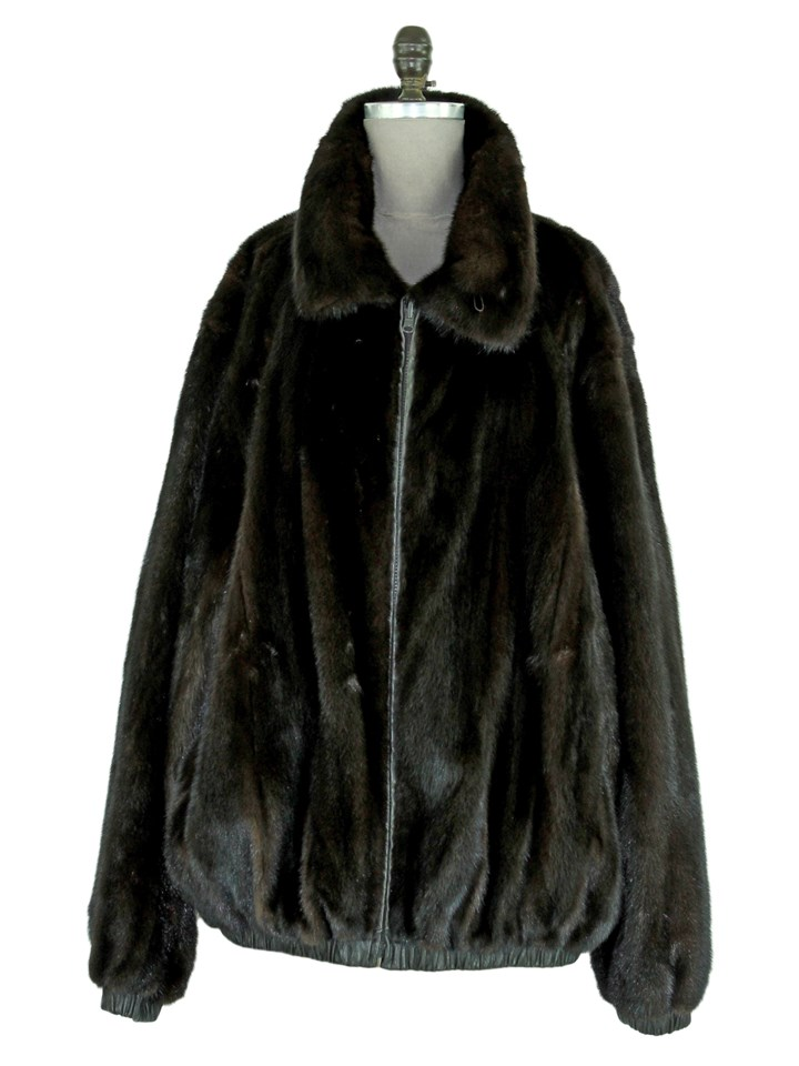 Man's Dark Brown Mink Fur Jacket Reversible to Brown Leather