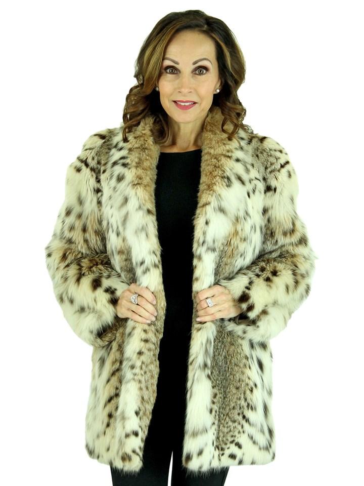 Woman's Natural Cat Lynx Fur Jacket