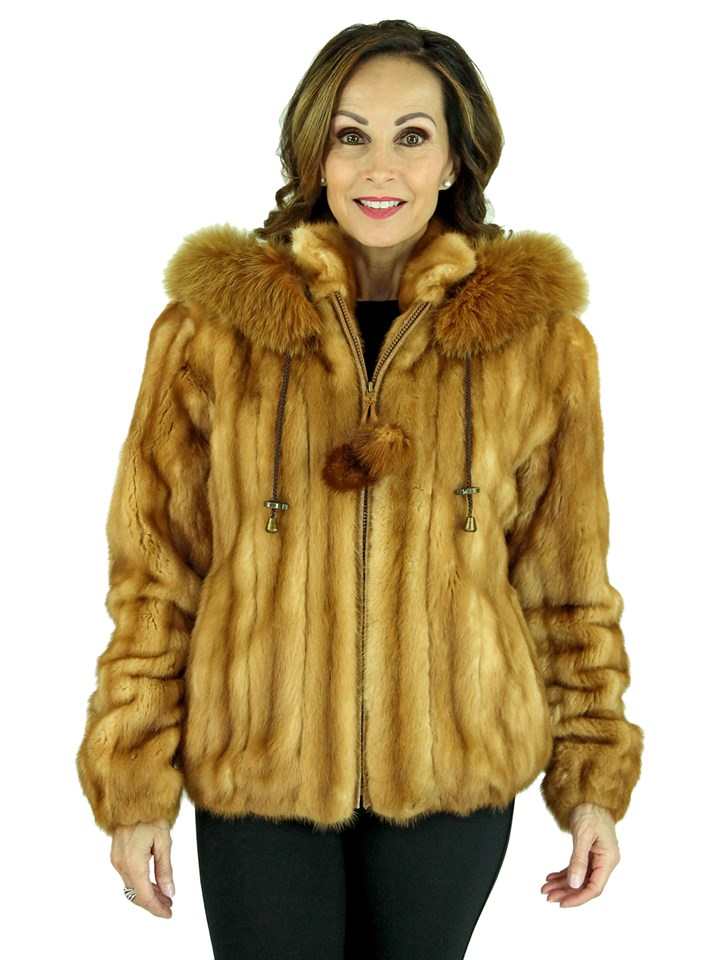 Woman's Whiskey Female Mink Fur Jacket with Detachable Fox Trimmed Hood