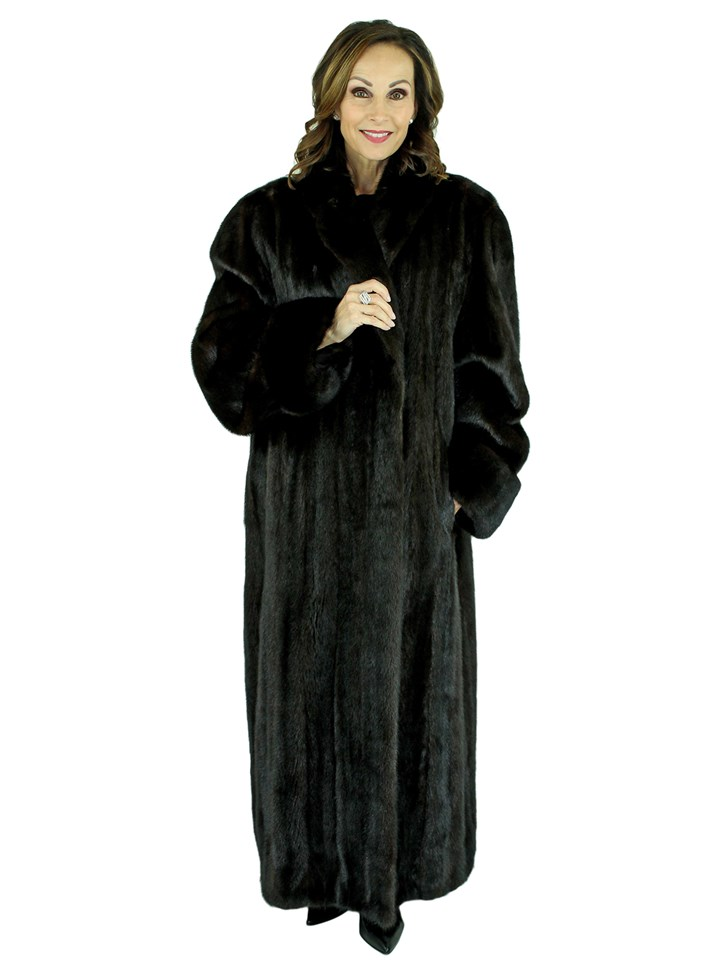 Woman's Plus Size Dark Mahogany Female Mink Fur Coat