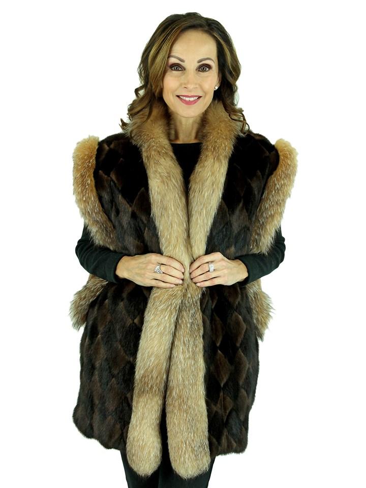 Woman's Two Tone Diamond Pattern Mink Fur Vest with Crystal Fox Trim
