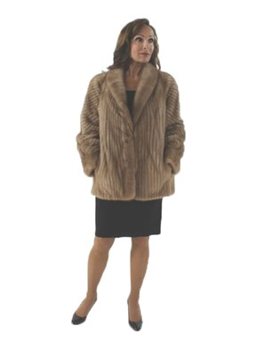 Woman's Pastel Cord Cut Mink Fur Jacket