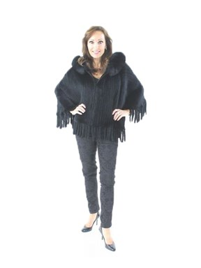 Knitted Black Rex Rabbit Fur Poncho