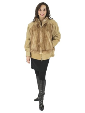 Autumn Haze Mink Jacket with Zip Out Suede Sleeves