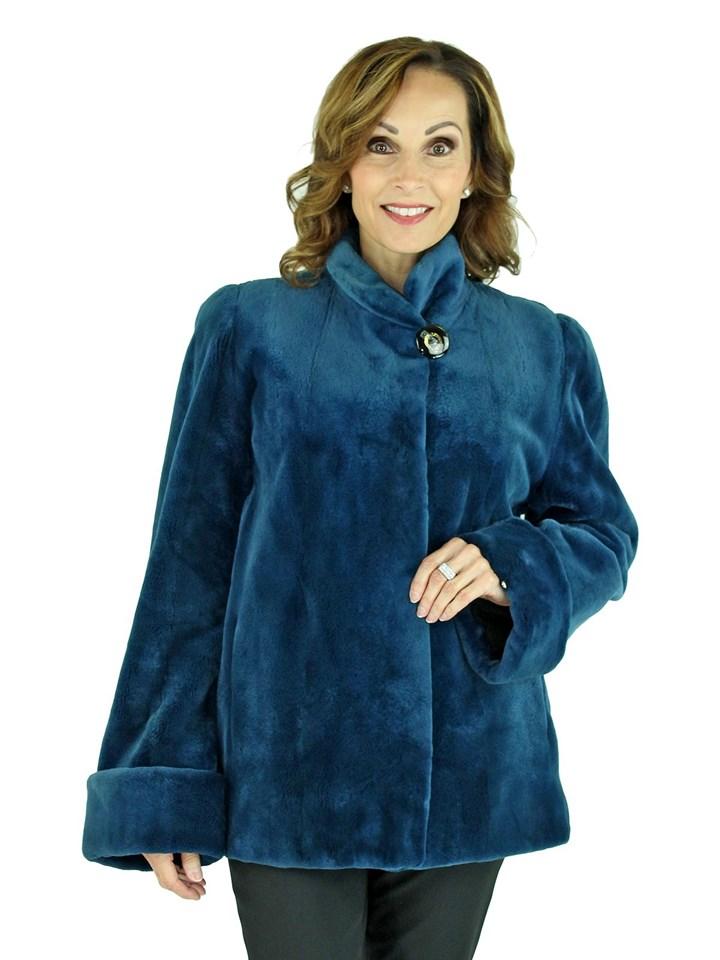 Woman's Blue Sheared Mink fur Jacket