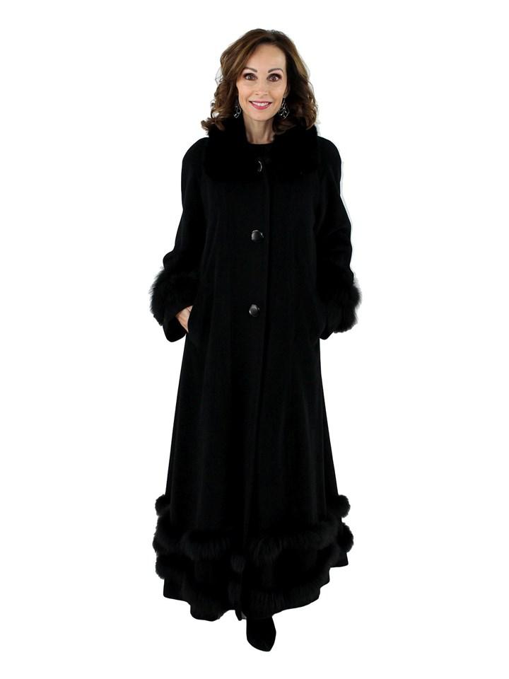 Woman's Black Wool Coat with Black Fox Fur Trim